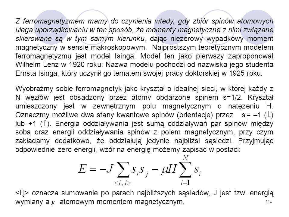 114 Z ferromagnetyzmem mamy do czynienia wtedy, gdy zbiór spinów atomowych ulega uporządkowaniu w ten sposób, że momenty magnetyczne z nimi związane s