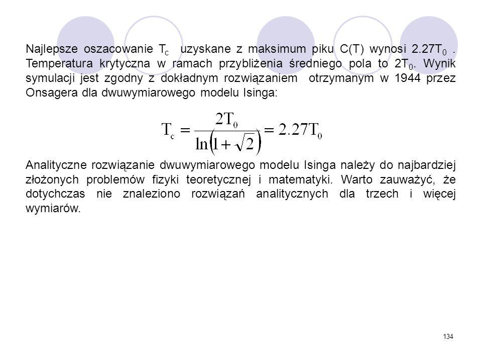 134 Najlepsze oszacowanie T c uzyskane z maksimum piku C(T) wynosi 2.27T 0. Temperatura krytyczna w ramach przybliżenia średniego pola to 2T 0. Wynik