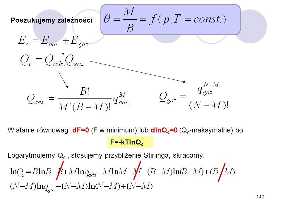 140 W stanie równowagi dF=0 (F w minimum) lub dlnQ c =0 (Q c -maksymalne) bo F=-kTlnQ c Poszukujemy zależności Logarytmujemy Q c, stosujemy przybliżen