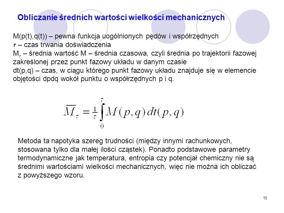 15 Metoda ta napotyka szereg trudności (między innymi rachunkowych, stosowana tylko dla małej ilości cząstek). Ponadto podstawowe parametry termodynam