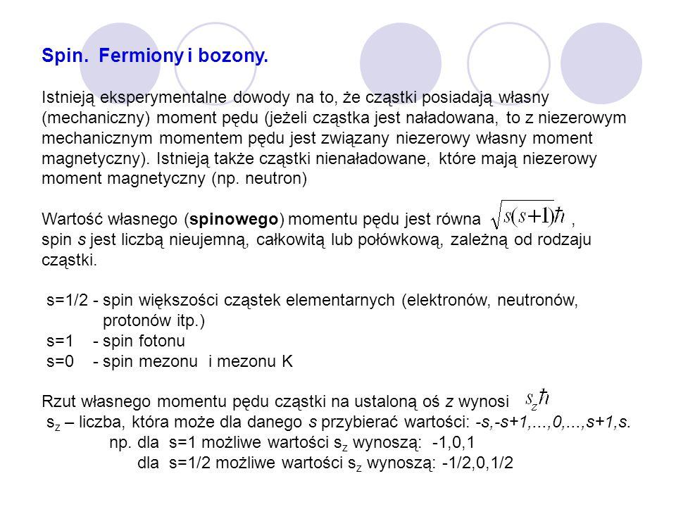 Spin. Fermiony i bozony. Istnieją eksperymentalne dowody na to, że cząstki posiadają własny (mechaniczny) moment pędu (jeżeli cząstka jest naładowana,