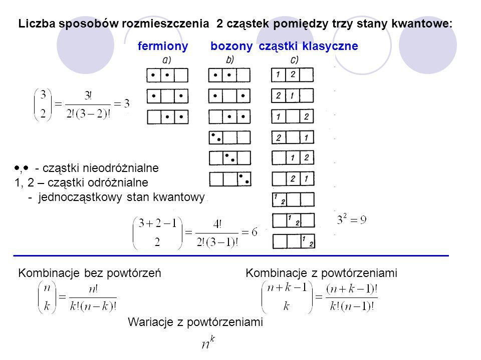,  - cząstki nieodróżnialne 1, 2 – cząstki odróżnialne  - jednocząstkowy stan kwantowy Liczba sposobów rozmieszczenia 2 cząstek pomiędzy trzy stany