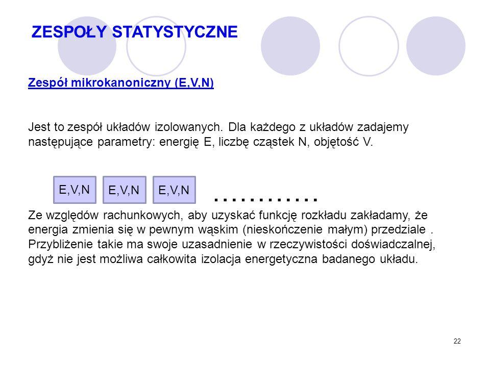 22 Zespół mikrokanoniczny (E,V,N) Jest to zespół układów izolowanych. Dla każdego z układów zadajemy następujące parametry: energię E, liczbę cząstek
