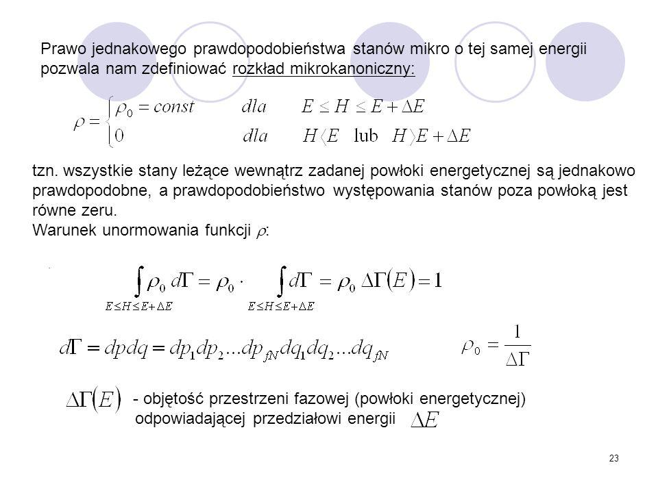 23 Prawo jednakowego prawdopodobieństwa stanów mikro o tej samej energii pozwala nam zdefiniować rozkład mikrokanoniczny: tzn. wszystkie stany leżące