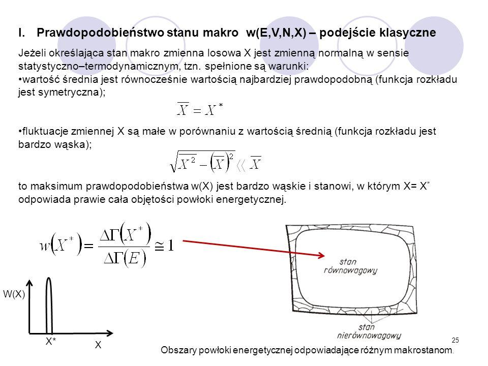 25 I.Prawdopodobieństwo stanu makro w(E,V,N,X) – podejście klasyczne Jeżeli określająca stan makro zmienna losowa X jest zmienną normalną w sensie sta