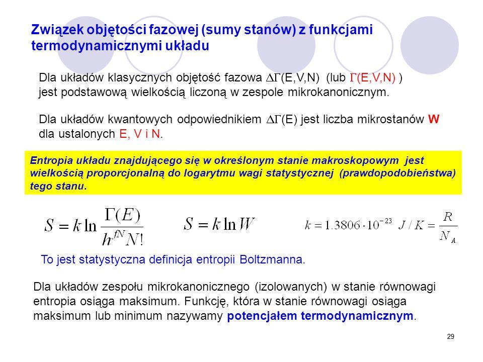 29 Dla układów klasycznych objętość fazowa  (E,V,N) (lub  (E,V,N) ) jest podstawową wielkością liczoną w zespole mikrokanonicznym. Dla układów kwan