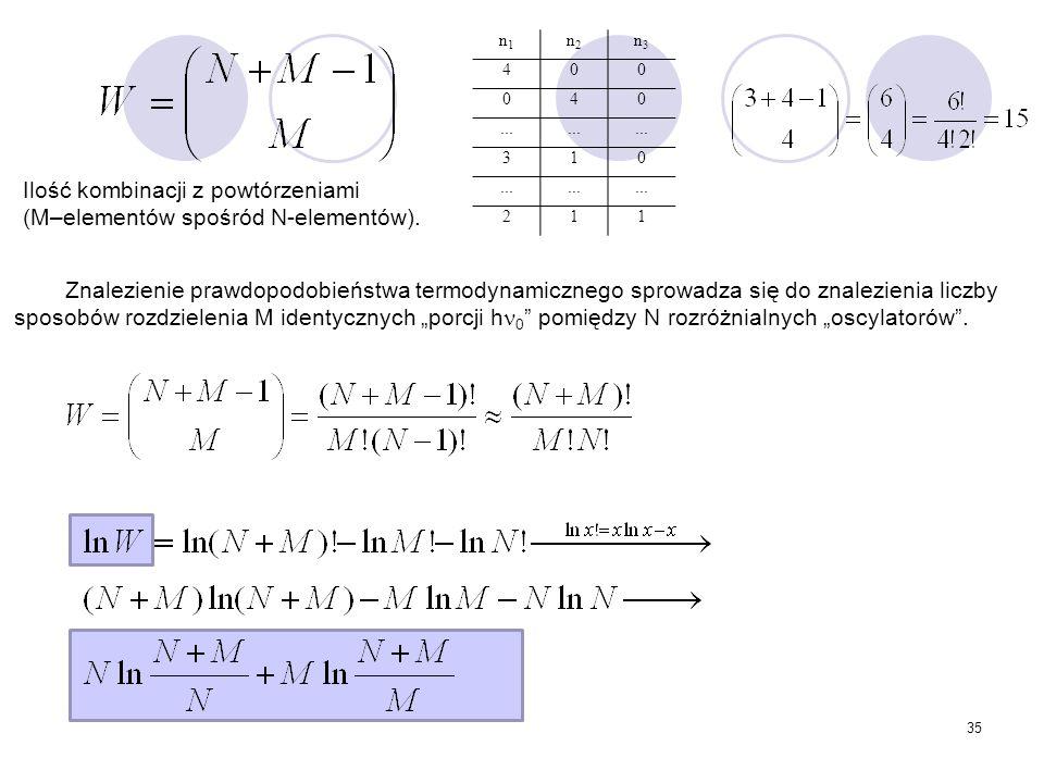 35 n1n1 n2n2 n3n3 400 040... 310 211 Znalezienie prawdopodobieństwa termodynamicznego sprowadza się do znalezienia liczby sposobów rozdzielenia M iden