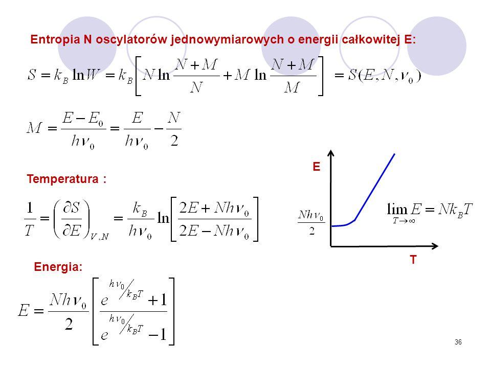 36 Entropia N oscylatorów jednowymiarowych o energii całkowitej E: Temperatura : Energia: E T