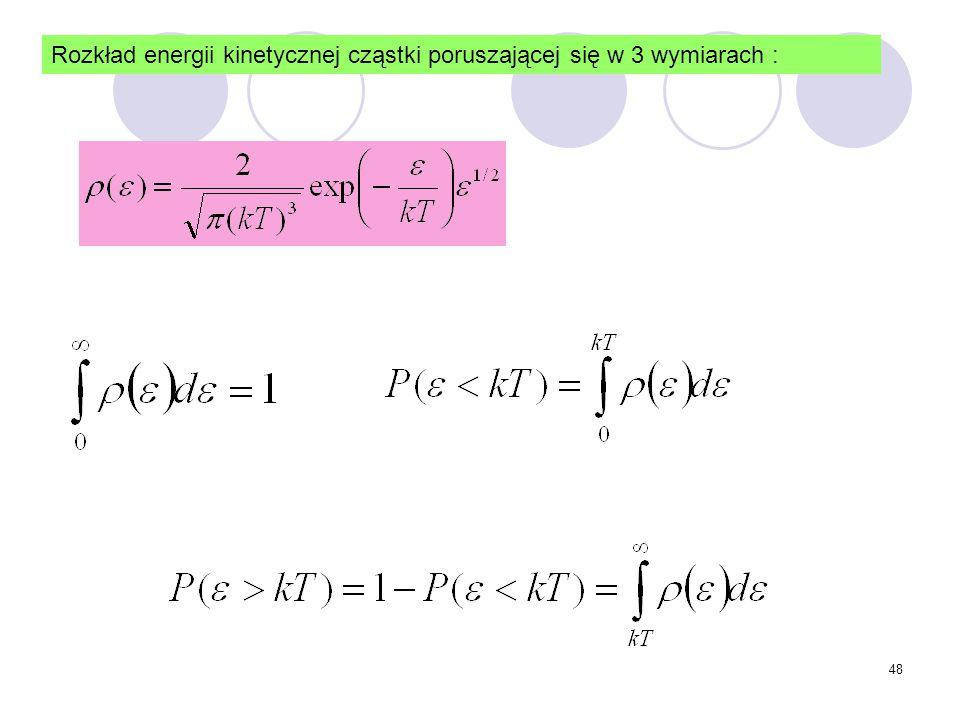 48 Rozkład energii kinetycznej cząstki poruszającej się w 3 wymiarach :