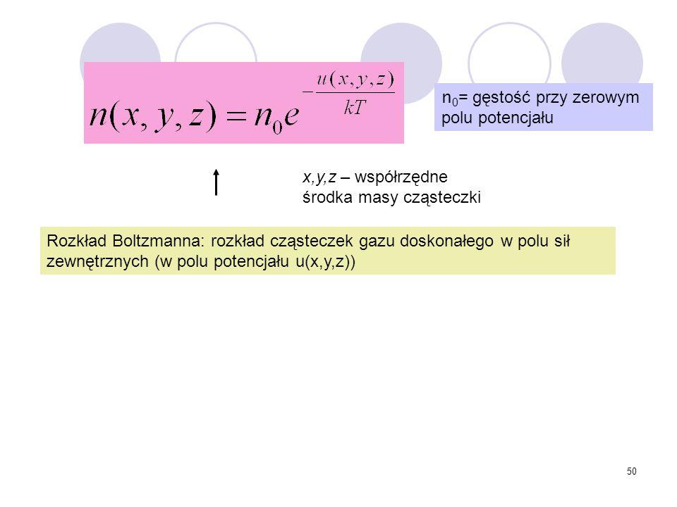 50 Rozkład Boltzmanna: rozkład cząsteczek gazu doskonałego w polu sił zewnętrznych (w polu potencjału u(x,y,z)) n 0 = gęstość przy zerowym polu potenc