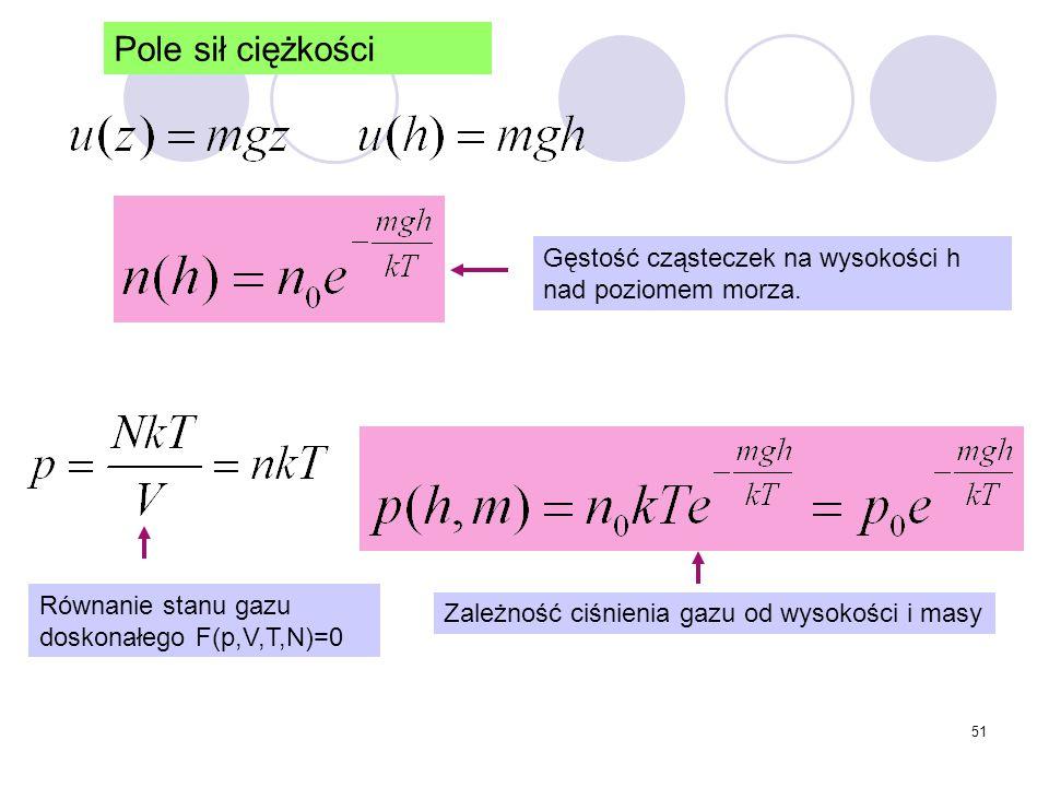 51 Pole sił ciężkości Gęstość cząsteczek na wysokości h nad poziomem morza. Równanie stanu gazu doskonałego F(p,V,T,N)=0 Zależność ciśnienia gazu od w