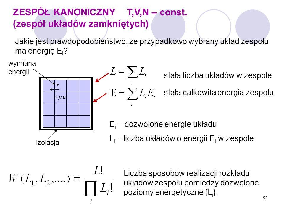 52 ZESPÓŁ KANONICZNY T,V,N – const. (zespół układów zamkniętych) Jakie jest prawdopodobieństwo, że przypadkowo wybrany układ zespołu ma energię E i ?