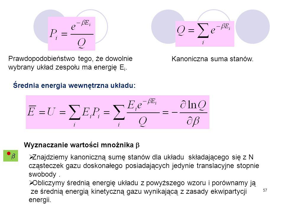 57 Prawdopodobieństwo tego, że dowolnie wybrany układ zespołu ma energię E i. Kanoniczna suma stanów. Średnia energia wewnętrzna układu: Wyznaczanie w