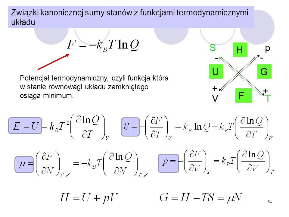 64 Związki kanonicznej sumy stanów z funkcjami termodynamicznymi układu U H F G S T p V + + - - Potencjał termodynamiczny, czyli funkcja która w stani