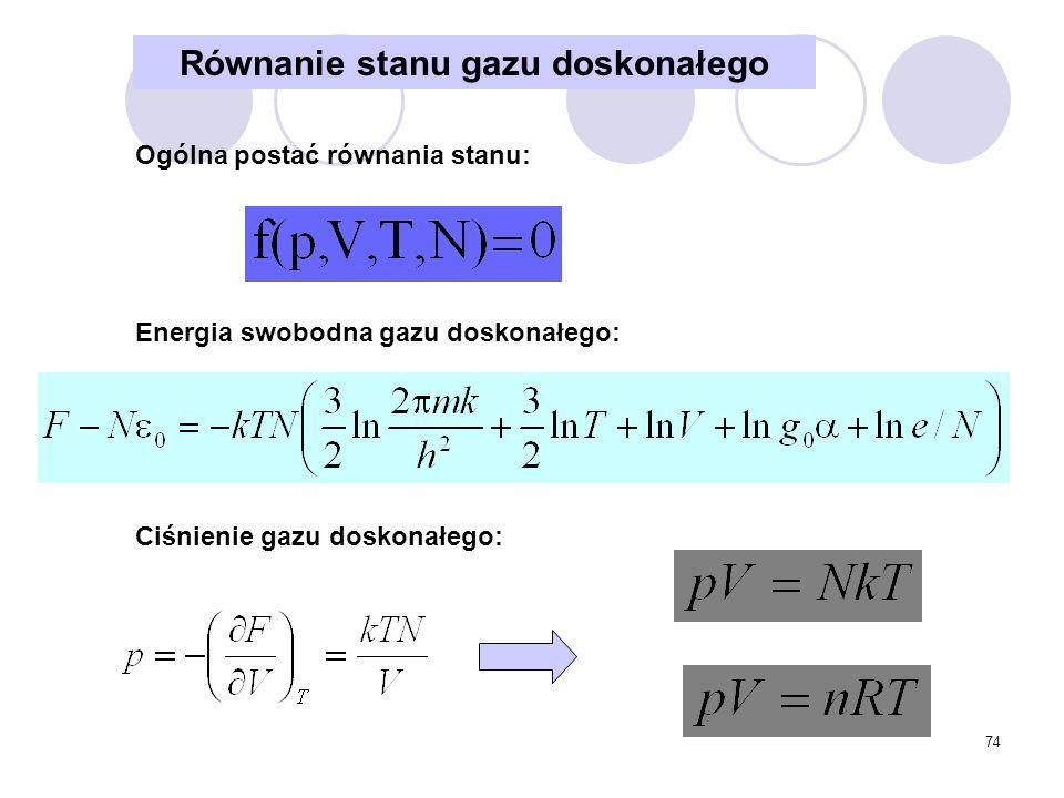 74 Równanie stanu gazu doskonałego Ogólna postać równania stanu: Energia swobodna gazu doskonałego: Ciśnienie gazu doskonałego: