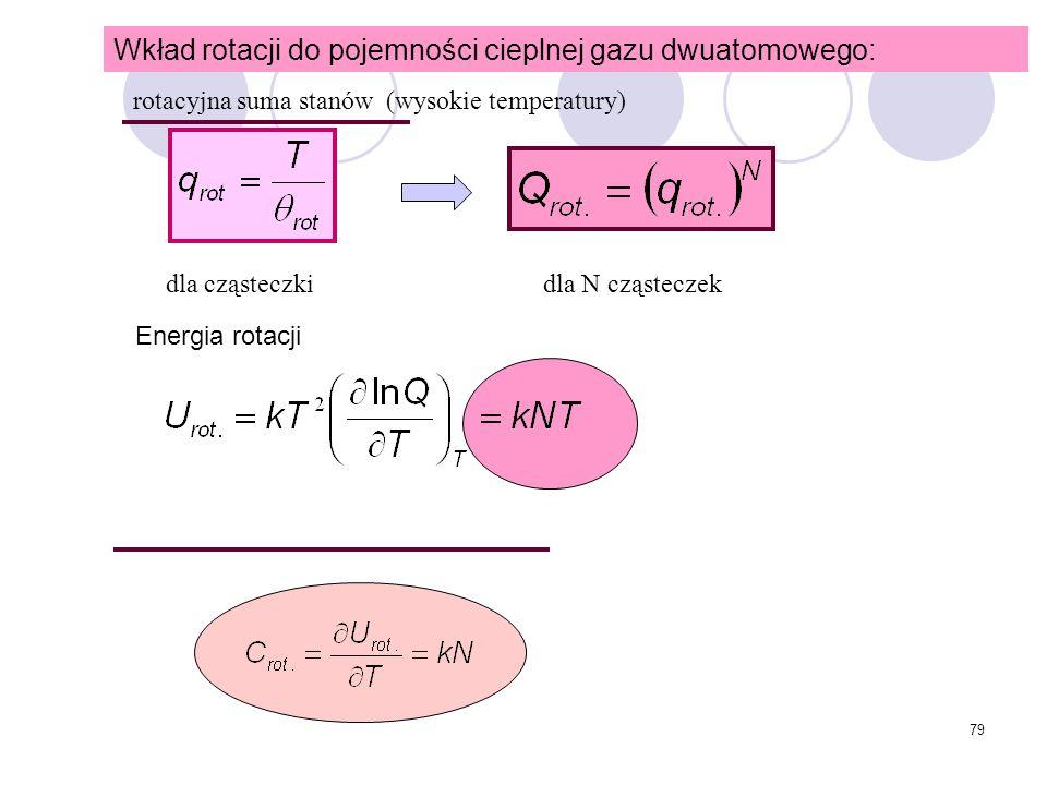 79 Wkład rotacji do pojemności cieplnej gazu dwuatomowego: dla cząsteczkidla N cząsteczek Energia rotacji rotacyjna suma stanów (wysokie temperatury)