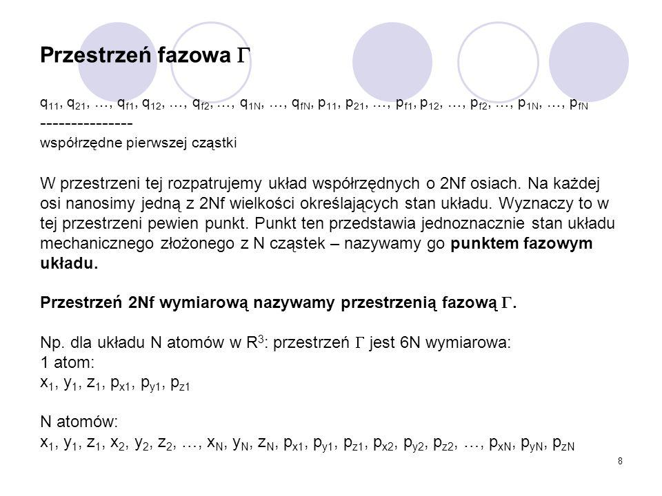 8 Przestrzeń fazowa  q 11, q 21, …, q f1, q 12, …, q f2, …, q 1N, …, q fN, p 11, p 21, …, p f1, p 12, …, p f2, …, p 1N, …, p fN --------------- współ