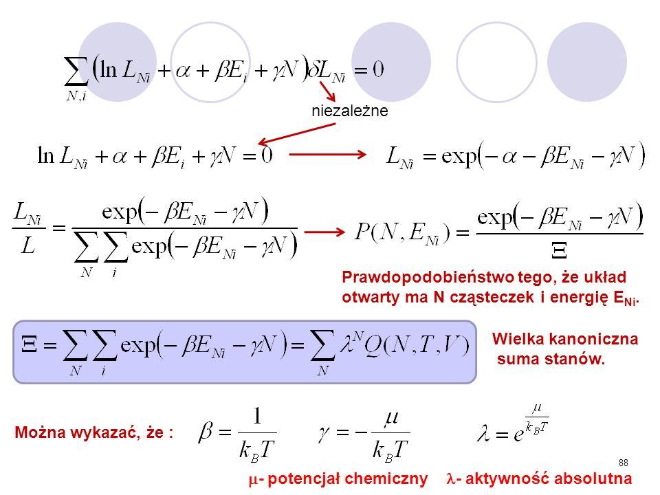 88 niezależne Wielka kanoniczna suma stanów. Prawdopodobieństwo tego, że układ otwarty ma N cząsteczek i energię E Ni. Można wykazać, że :  - potencj