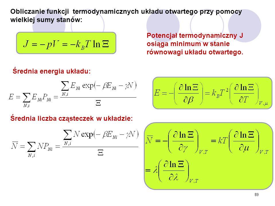 89 Obliczanie funkcji termodynamicznych układu otwartego przy pomocy wielkiej sumy stanów: Średnia liczba cząsteczek w układzie: Średnia energia układ