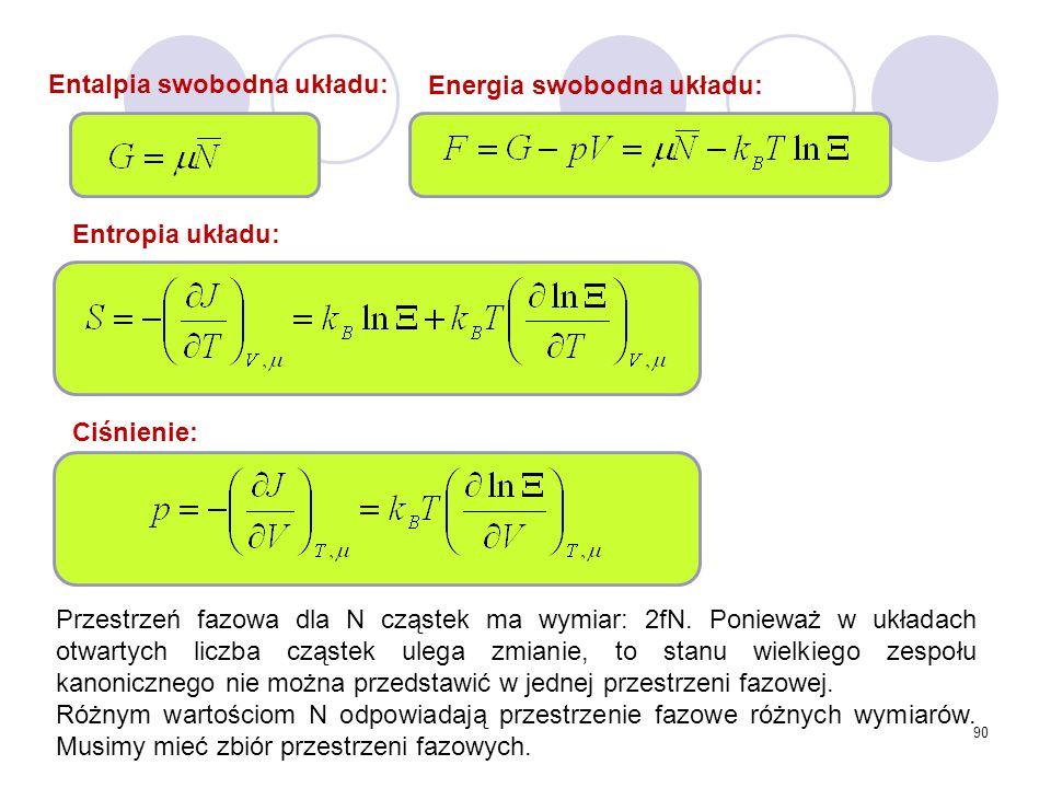 90 Entropia układu: Entalpia swobodna układu: Energia swobodna układu: Przestrzeń fazowa dla N cząstek ma wymiar: 2fN. Ponieważ w układach otwartych l
