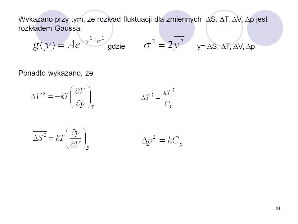 94 Wykazano przy tym, że rozkład fluktuacji dla zmiennych  S,  T,  V,  p jest rozkładem Gaussa: gdzie y=  S,  T,  V,  p Ponadto wykazano, że