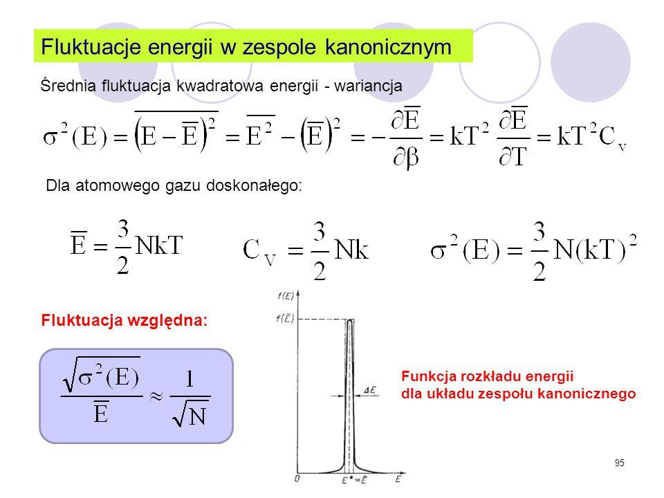 95 Fluktuacje energii w zespole kanonicznym Średnia fluktuacja kwadratowa energii - wariancja Fluktuacja względna: Dla atomowego gazu doskonałego: Fun