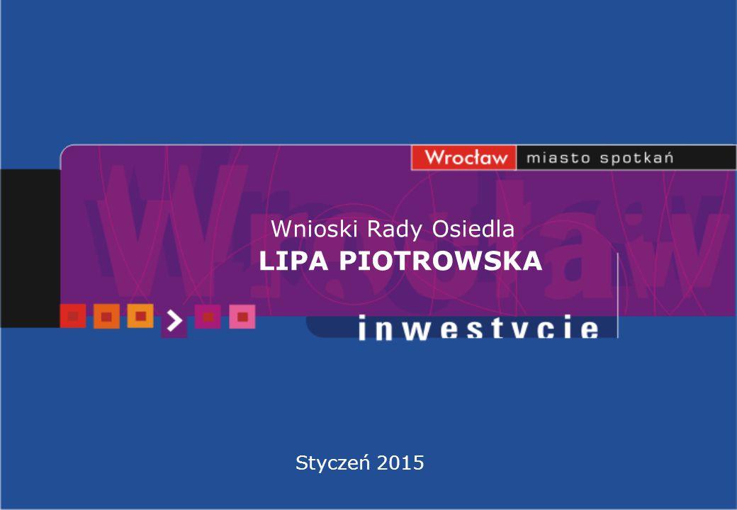Wnioski Rady Osiedla LIPA PIOTROWSKA Styczeń 2015
