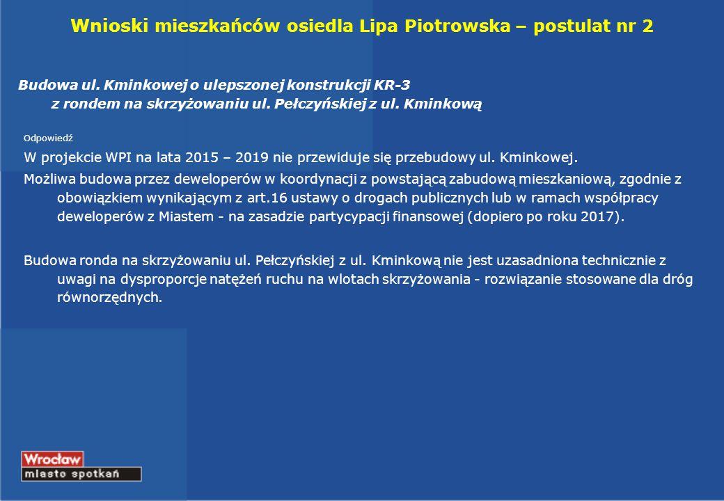 Wnioski mieszkańców osiedla Lipa Piotrowska – postulat nr 2 Budowa ul.