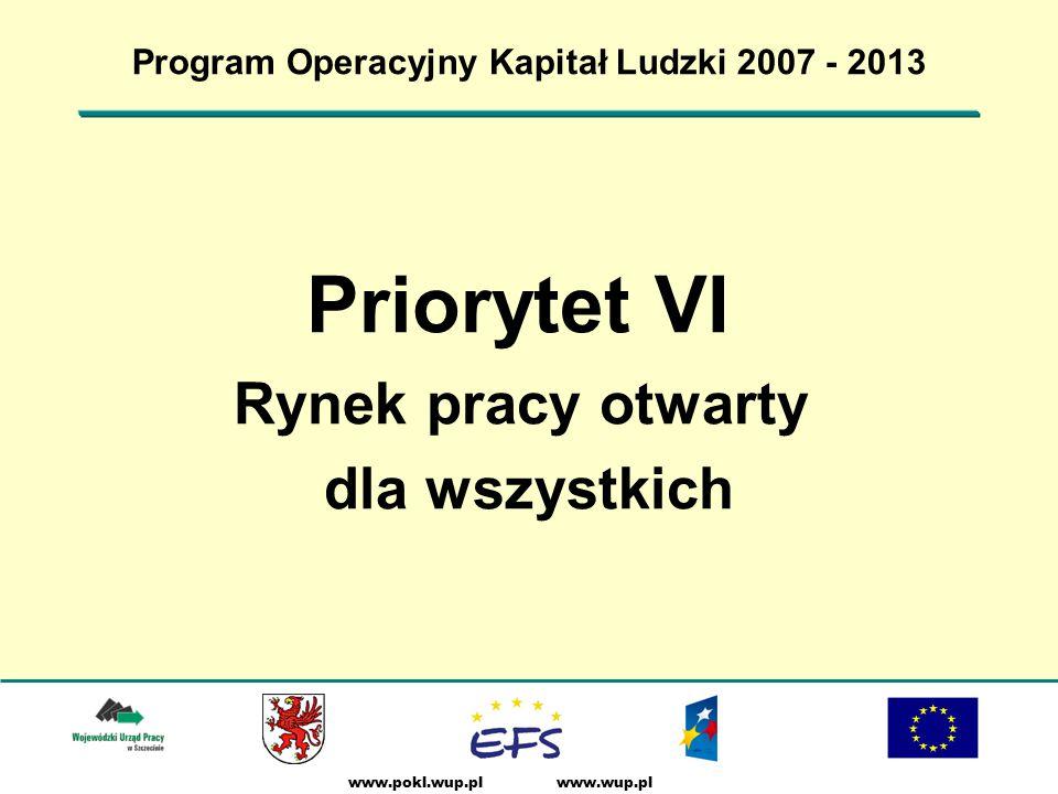 www.wup.plwww.pokl.wup.pl Program Operacyjny Kapitał Ludzki 2007 - 2013 Priorytet VI Rynek pracy otwarty dla wszystkich