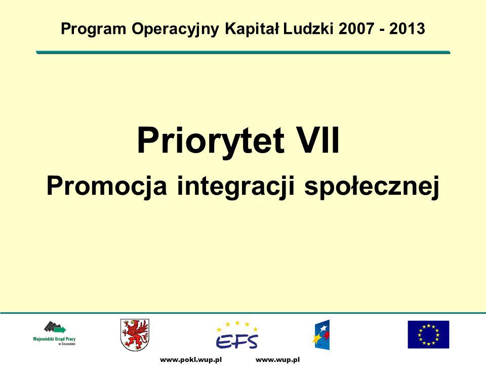 www.wup.plwww.pokl.wup.pl Program Operacyjny Kapitał Ludzki 2007 - 2013 Priorytet VII Promocja integracji społecznej