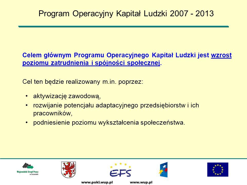 www.wup.plwww.pokl.wup.pl Celem głównym Programu Operacyjnego Kapitał Ludzki jest wzrost poziomu zatrudnienia i spójności społecznej.
