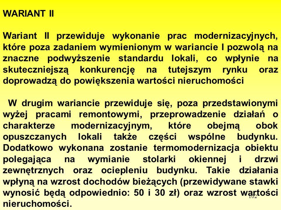 102 W WARIANT II Wariant II przewiduje wykonanie prac modernizacyjnych, które poza zadaniem wymienionym w wariancie I pozwolą na znaczne podwyższenie