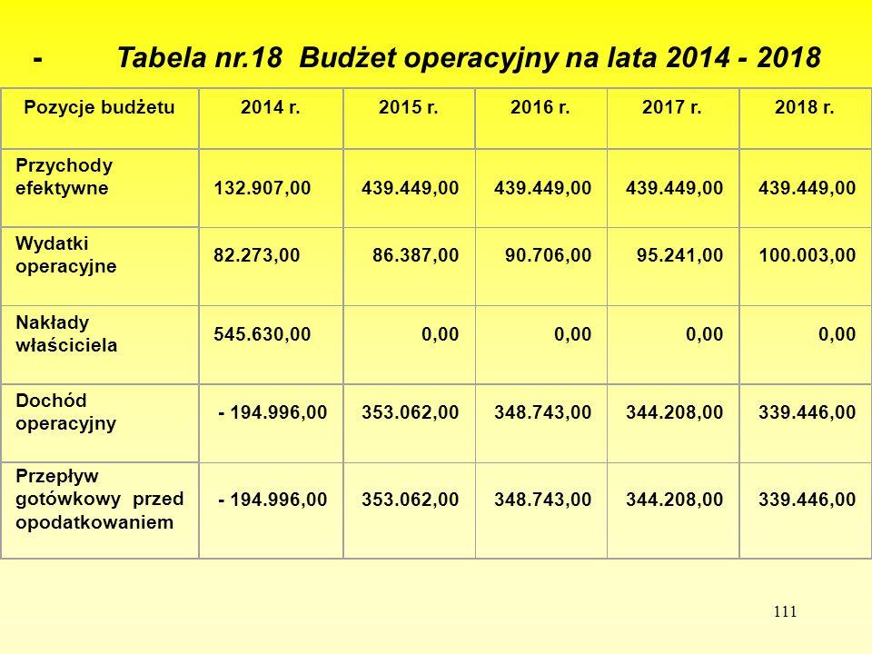 111 - Tabela nr.18 Budżet operacyjny na lata 2014 - 2018 Pozycje budżetu2014 r.2015 r.2016 r.2017 r.2018 r. Przychody efektywne 132.907,00439.449,00 W