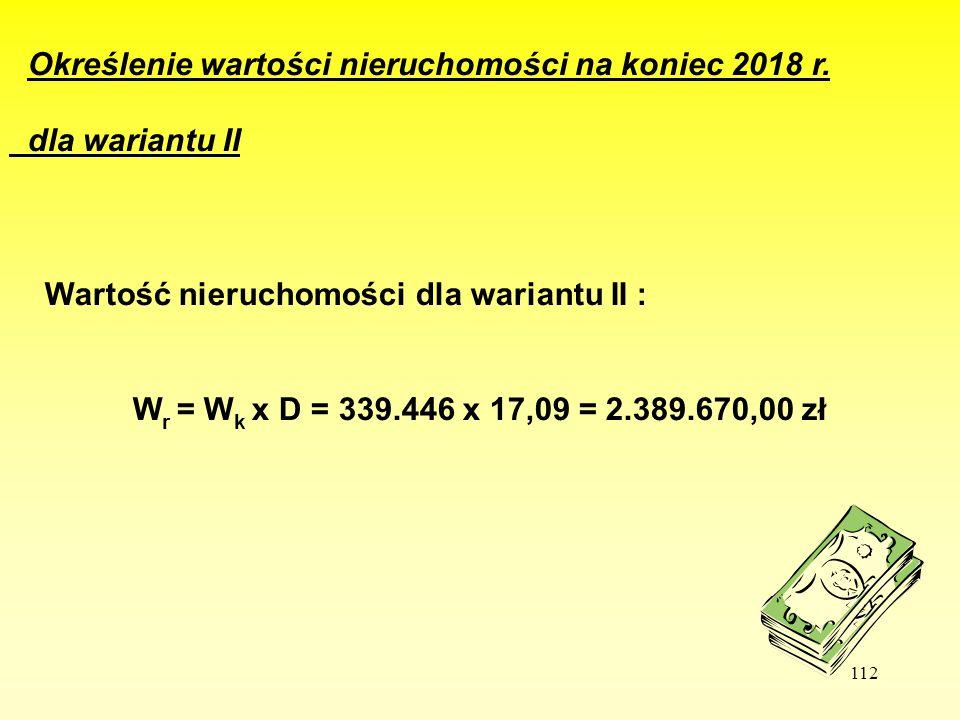 112 Określenie wartości nieruchomości na koniec 2018 r. dla wariantu II Wartość nieruchomości dla wariantu II : W W r = W k x D = 339.446 x 17,09 = 2.