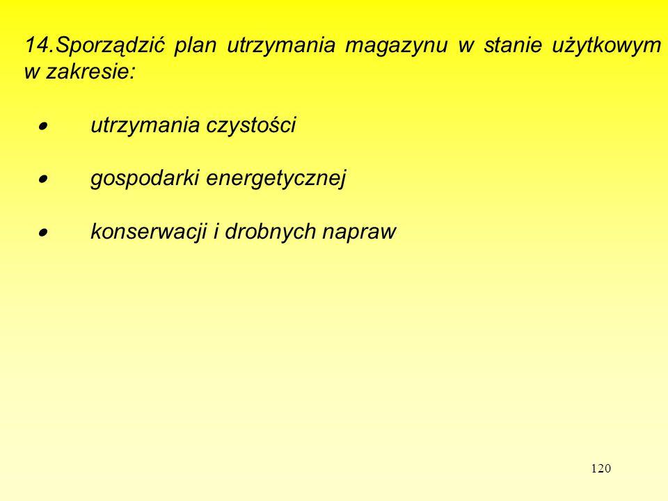 120 1 14.Sporządzić plan utrzymania magazynu w stanie użytkowym w zakresie:  utrzymania czystości  gospodarki energetycznej  konserwacji i drobnych