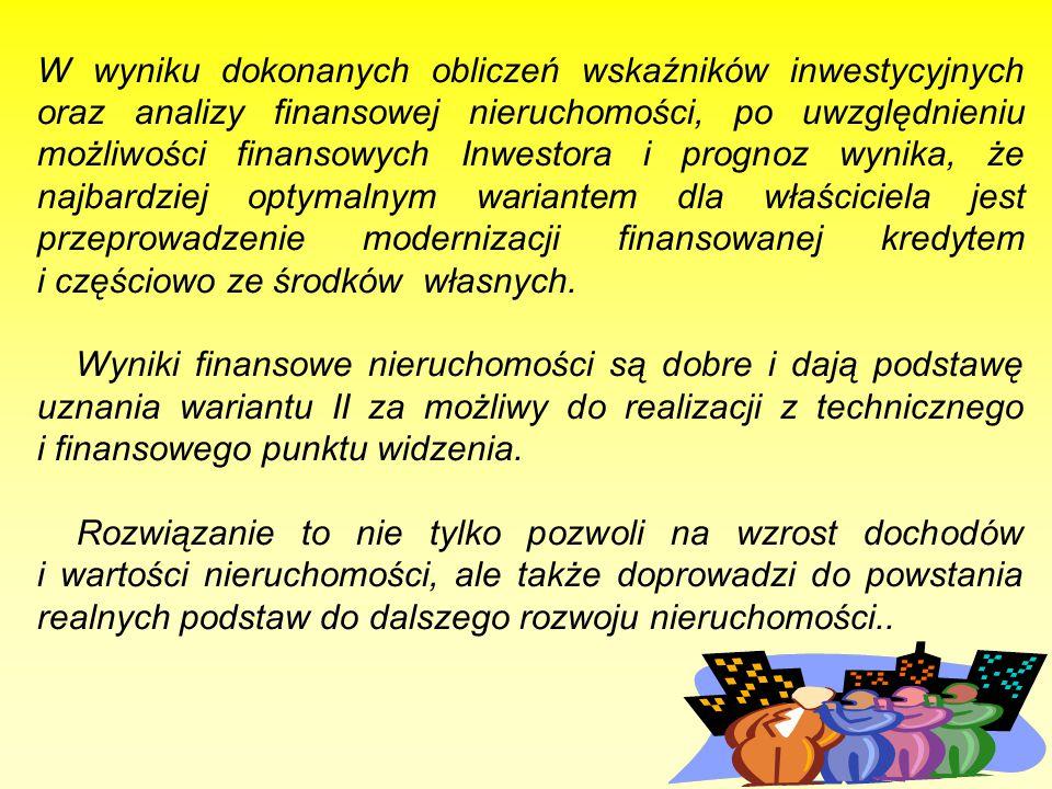 123 W wyniku dokonanych obliczeń wskaźników inwestycyjnych oraz analizy finansowej nieruchomości, po uwzględnieniu możliwości finansowych Inwestora i