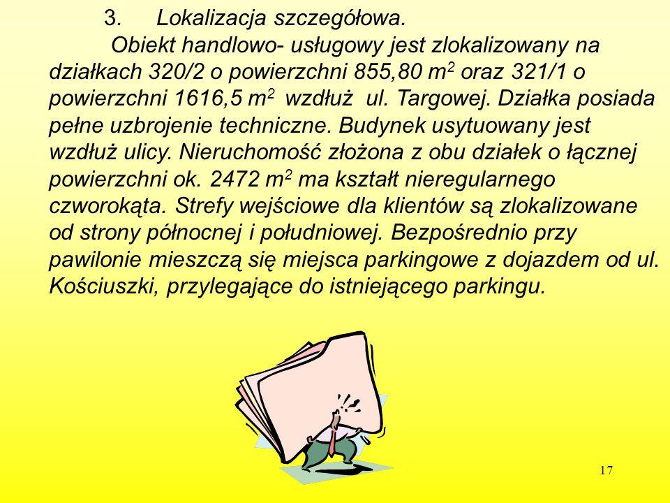 17 3. Lokalizacja szczegółowa. Obiekt handlowo- usługowy jest zlokalizowany na działkach 320/2 o powierzchni 855,80 m 2 oraz 321/1 o powierzchni 1616,