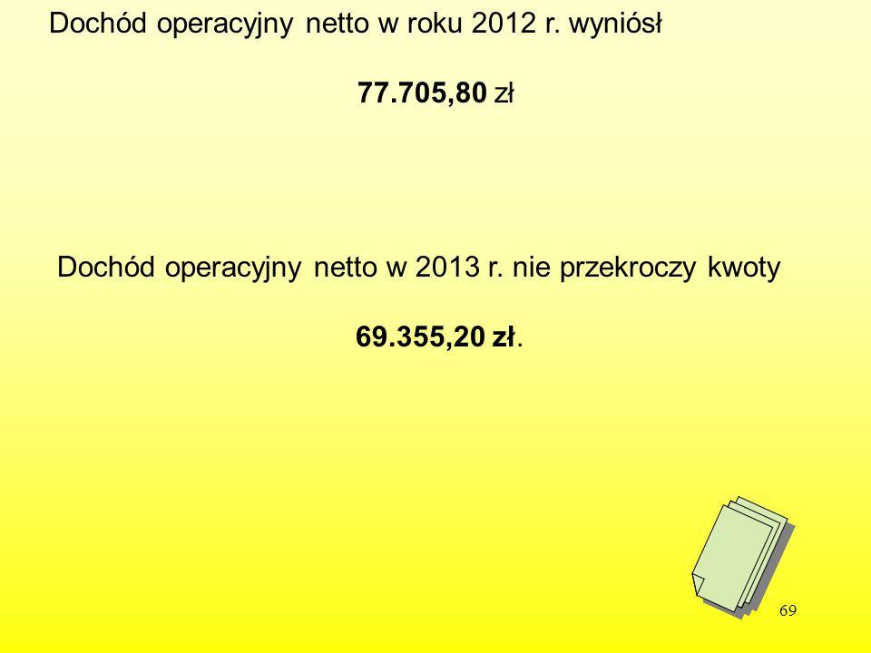 69 Dochód operacyjny netto w roku 2012 r. wyniósł 77.705,80 zł Dochód operacyjny netto w 2013 r. nie przekroczy kwoty 69.355,20 zł.