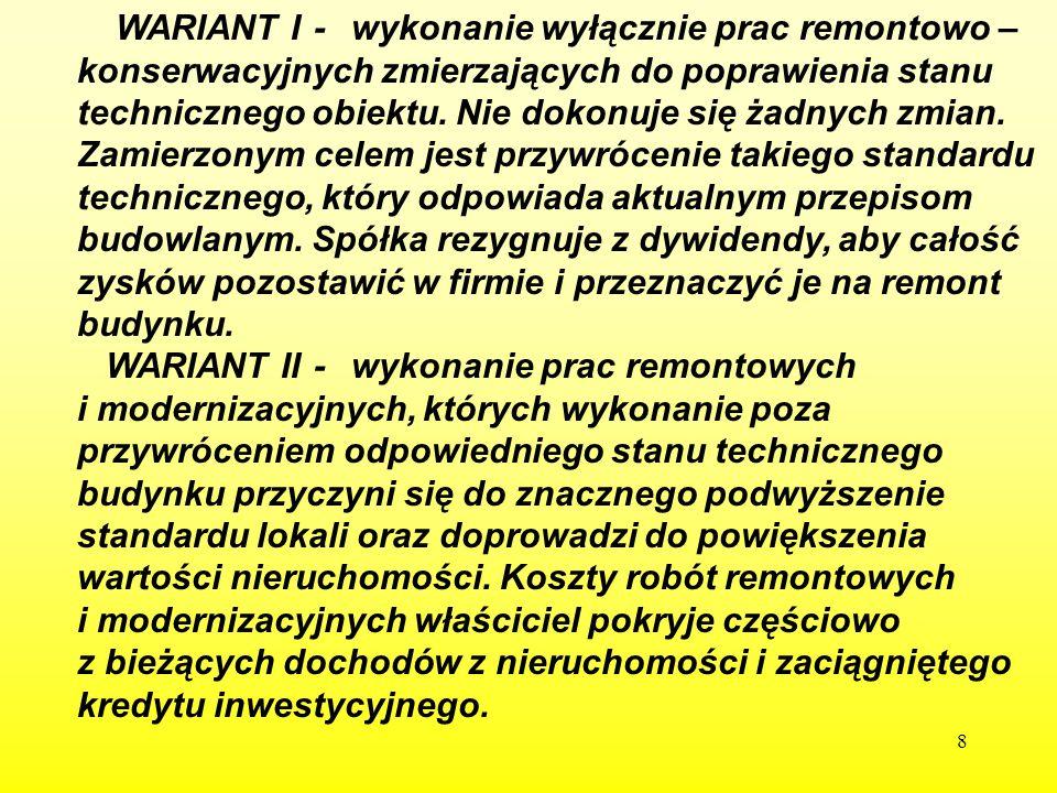 119 7 7.PLAN REALIZACJI WARIANTU II. 1. Zalecany sposób działania.
