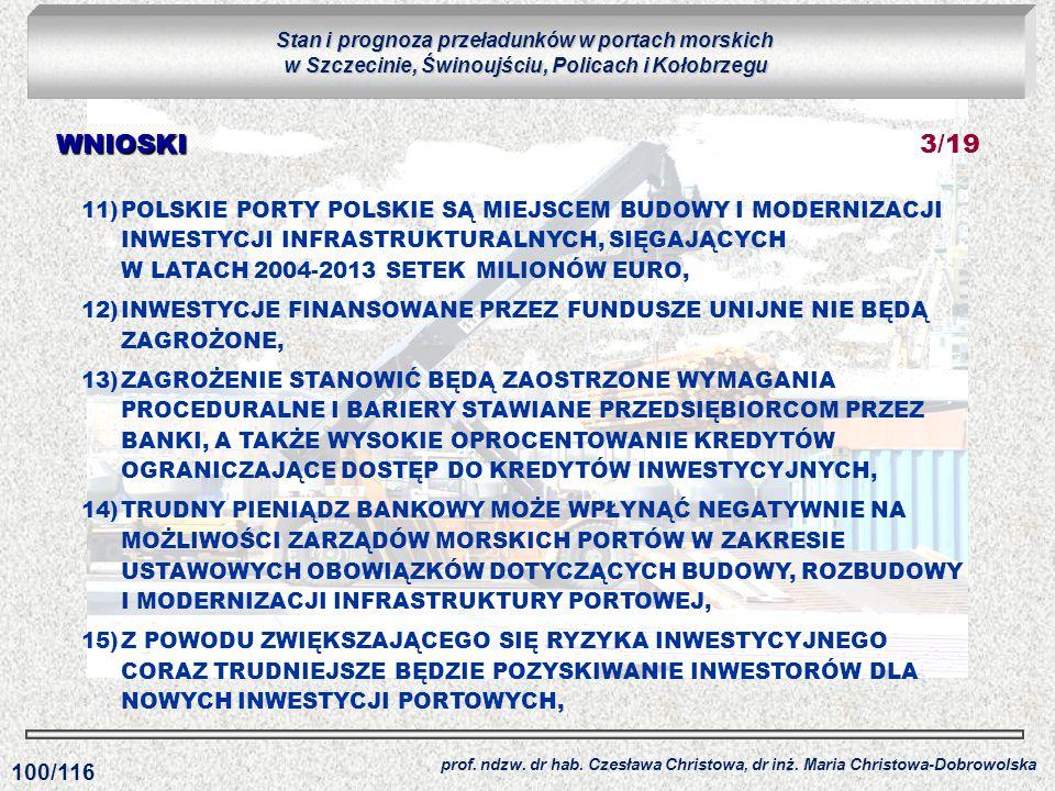 11)POLSKIE PORTY POLSKIE SĄ MIEJSCEM BUDOWY I MODERNIZACJI INWESTYCJI INFRASTRUKTURALNYCH, SIĘGAJĄCYCH W LATACH 2004-2013 SETEK MILIONÓW EURO, 12)INWE