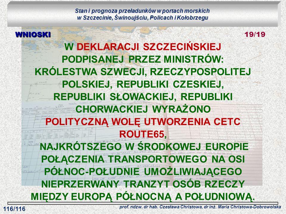 Stan i prognoza przeładunków w portach morskich w Szczecinie, Świnoujściu, Policach i Kołobrzegu prof. ndzw. dr hab. Czesława Christowa, dr inż. Maria