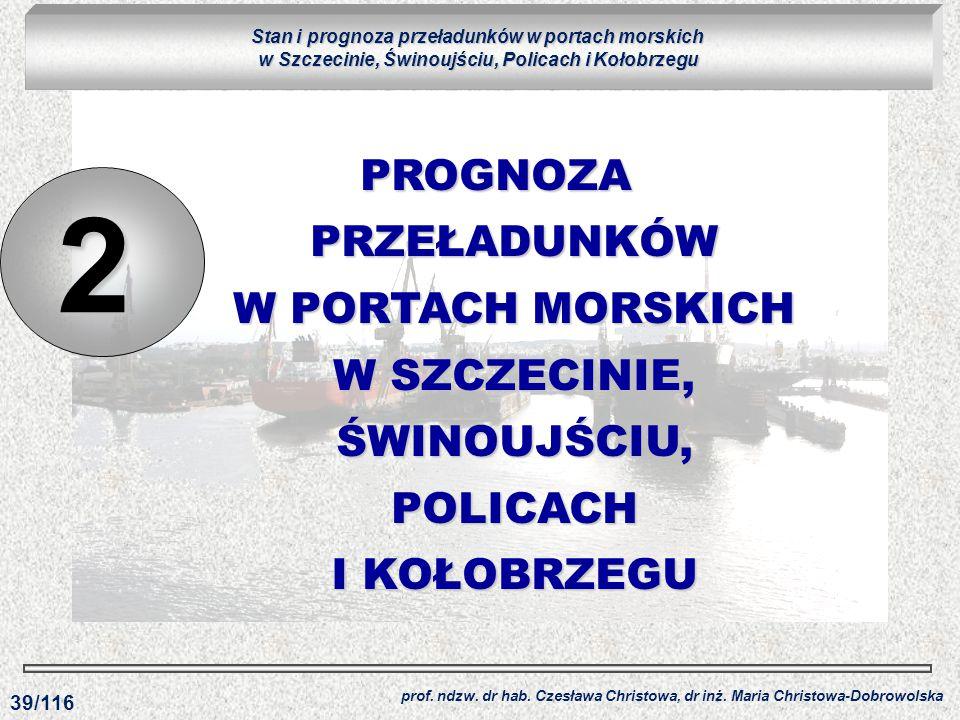 PROGNOZA PRZEŁADUNKÓW W PORTACH MORSKICH W SZCZECINIE, ŚWINOUJŚCIU, POLICACH I KOŁOBRZEGU 2 prof. ndzw. dr hab. Czesława Christowa, dr inż. Maria Chri