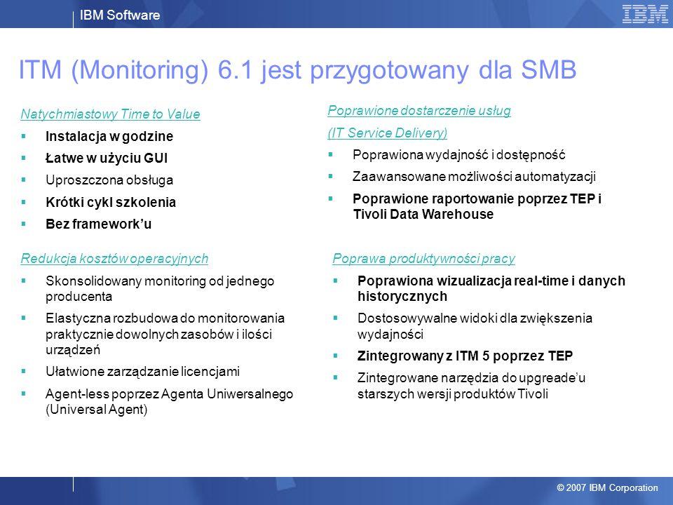 IBM Software © 2007 IBM Corporation ITM (Monitoring) 6.1 jest przygotowany dla SMB Natychmiastowy Time to Value  Instalacja w godzine  Łatwe w użyci