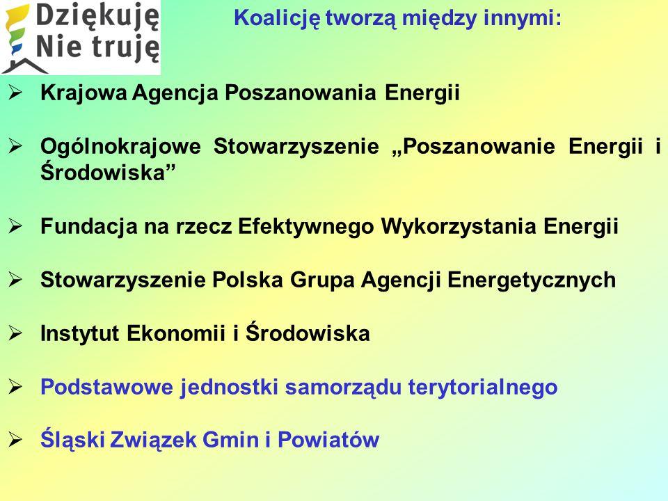 """ Krajowa Agencja Poszanowania Energii  Ogólnokrajowe Stowarzyszenie """"Poszanowanie Energii i Środowiska  Fundacja na rzecz Efektywnego Wykorzystania Energii  Stowarzyszenie Polska Grupa Agencji Energetycznych  Instytut Ekonomii i Środowiska  Podstawowe jednostki samorządu terytorialnego  Śląski Związek Gmin i Powiatów Koalicję tworzą między innymi:"""