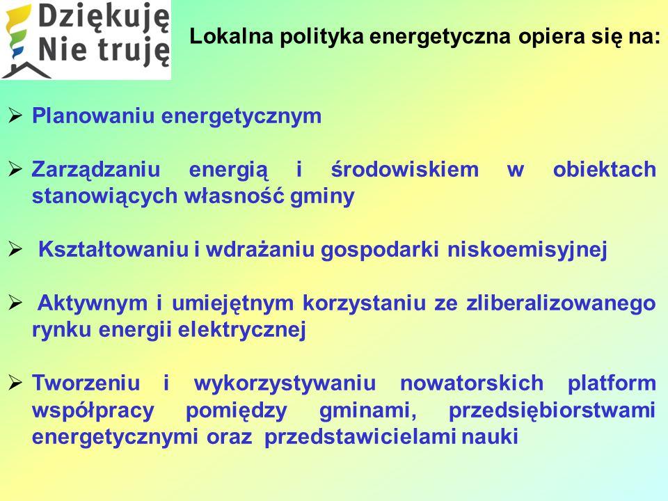 Lokalna polityka energetyczna opiera się na:  Planowaniu energetycznym  Zarządzaniu energią i środowiskiem w obiektach stanowiących własność gminy  Kształtowaniu i wdrażaniu gospodarki niskoemisyjnej  Aktywnym i umiejętnym korzystaniu ze zliberalizowanego rynku energii elektrycznej  Tworzeniu i wykorzystywaniu nowatorskich platform współpracy pomiędzy gminami, przedsiębiorstwami energetycznymi oraz przedstawicielami nauki
