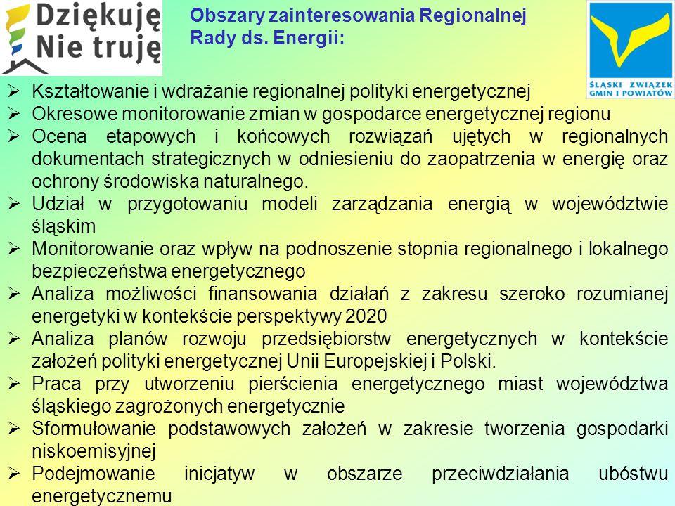  Kształtowanie i wdrażanie regionalnej polityki energetycznej  Okresowe monitorowanie zmian w gospodarce energetycznej regionu  Ocena etapowych i końcowych rozwiązań ujętych w regionalnych dokumentach strategicznych w odniesieniu do zaopatrzenia w energię oraz ochrony środowiska naturalnego.