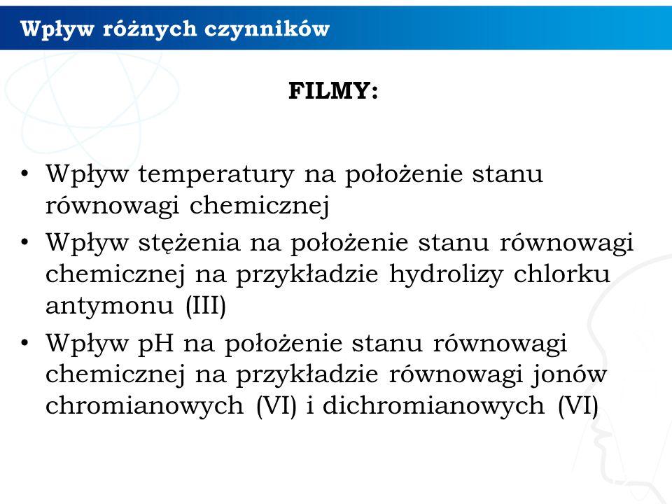 Wpływ różnych czynników FILMY: Wpływ temperatury na położenie stanu równowagi chemicznej Wpływ stężenia na położenie stanu równowagi chemicznej na przykładzie hydrolizy chlorku antymonu (III) Wpływ pH na położenie stanu równowagi chemicznej na przykładzie równowagi jonów chromianowych (VI) i dichromianowych (VI) 12