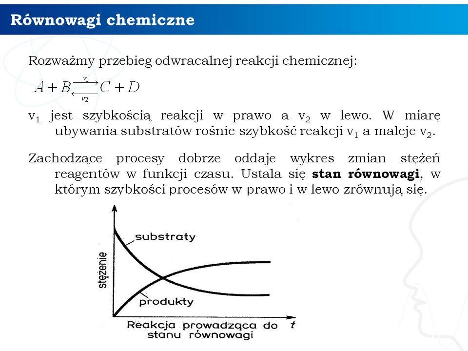 Równowagi chemiczne Rozważmy przebieg odwracalnej reakcji chemicznej: v 1 jest szybkością reakcji w prawo a v 2 w lewo. W miarę ubywania substratów ro