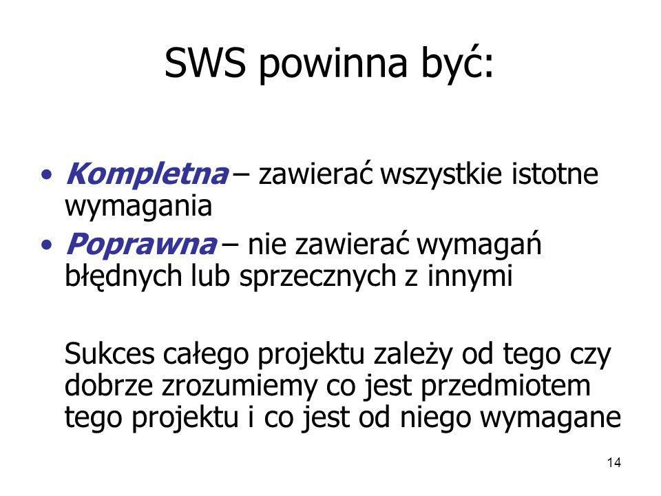 14 SWS powinna być: Kompletna – zawierać wszystkie istotne wymagania Poprawna – nie zawierać wymagań błędnych lub sprzecznych z innymi Sukces całego projektu zależy od tego czy dobrze zrozumiemy co jest przedmiotem tego projektu i co jest od niego wymagane