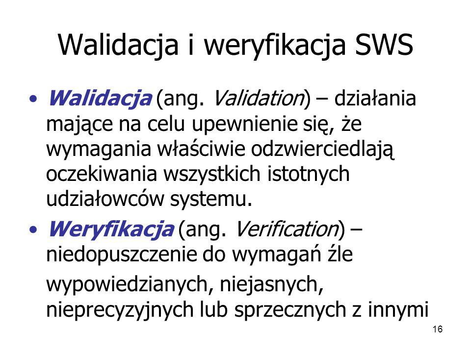 16 Walidacja i weryfikacja SWS Walidacja (ang.